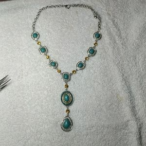 Beautiful faux turquoise and gem necklace